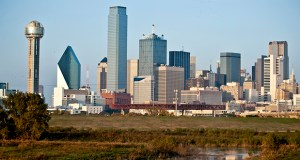 Buildings stand along the Dallas skyline on Nov. 11, 2009. Dallas was among the leaders in office rent increases, with effective rents climbing 5.2 percent in the third quarter compared with the U.S. average of 2.6 percent. (Bloomberg News photo)