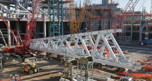 The Vikings stadium project will reach another milestone next month, when this 740,000-pound ridge truss beam is hoisted into place. The project is about 23 percent completed and much of the interior work has started. (Staff Photo: Bill Klotz)
