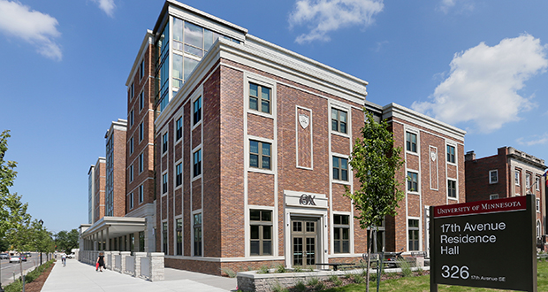 Although the University of Minnesota's 17th Avenue student residence hall and dining facility is brand new, the soon-to-be-named structure fits well in a historic area of University Avenue known as fraternity row. (Staff photo: Bill Klotz)