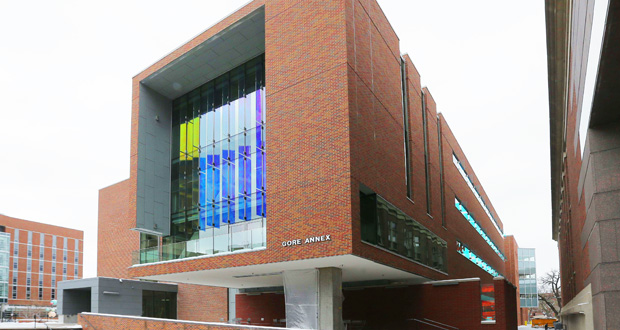 The 40,000-square-foot Gore Annex, 421 Washington Ave. SE on the University of Minnesota campus in Minneapolis, provides more space and research opportunities for the growing Department of Chemical Engineering and Materials Science. (Staff Photo: Bill Klotz)