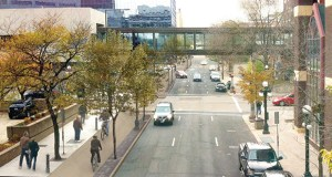 A rendering shows a bike and pedestrian trail separated from vehicle traffic on Jackson Street in downtown St. Paul. (Submitted rendering: City of St. Paul)