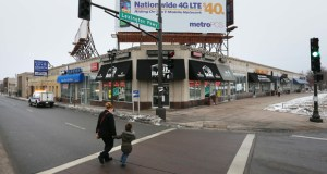 The Lexington Shoppes center, which wraps around the southeast corner of University Avenue and Lexington Parkway across from a Green Line station, is currently listed for sale. The city aims for redevelopment at the corner.