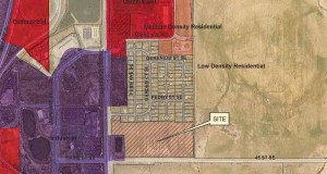 This map shows the proposed location of a new 244-unit multifamily development along St. Bridget Road Southeast in Rochester, including eight 10-unit townhome buildings, one 144-unit apartment building and a clubhouse.