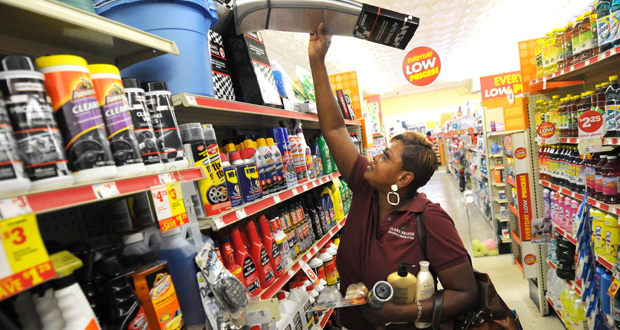 Cynthia Dodd-Simonson shops at a Family Dollar store Sept. 4 in Wilmington, N.C. The U.S. economy grew at a sizzling 5 percent annual rate in the July-September period, the fastest since 2003, fueled by higher consumer spending and business investment. (AP File Photo)