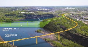 The visualization above shows alternatives for the relocation of U.S. Highway 53 near Virginia, MN. Alternative E-2 (colored orange in the foreground) has been recommended. (submitted rendering: Minnesota Department of Transportation)
