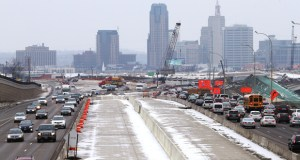Work on the MnPass lanes on Interstate 35E in the east metro will shift to the southbound lanes in 2015 after wrapping up northbound lanes in 2014. This view is from the Maryland Avenue bridge in St. Paul. The project extends from downtown St. Paul to Little Canada.  (Staff photo: Bill Klotz)