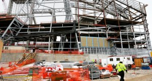 "The Vikings stadium under construction in Minneapolis. Minnesota Sports Facilities Authority chair Michele Kelm-Helgen said the MSFA is ""working with various groups to address their concerns regarding potential bird collisions,"" with the Vikings stadium windows. (Staff photo: Bill Klotz)"