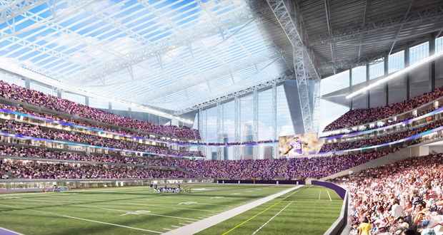 Wildlife advocates warn that the stadium under construction in downtown Minneapolis will become a death trap for migratory birds. (Submitted rendering: HKS)