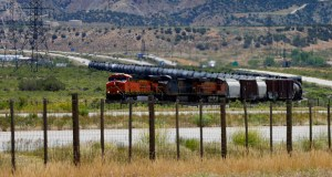 A Burlington Northern Santa Fe Corp. train hauls oil cars outside Rifle, Colorado. (Bloomberg photo: George Frey)