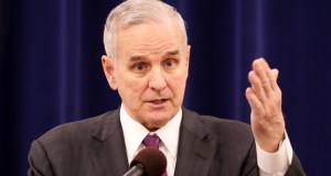Gov. Mark Dayton said Tuesday that there are lots of capital investment needs throughout the state. He said $1 billion in state bonding over the biennium is within reason. (Staff photo: Bill Klotz)