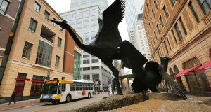 At 900 Nicollet Mall a statue of a crane and grouse is across the street from Target Corp.'s headquarters in downtown Minneapolis. The city plans to remodel the street and assess neighboring property owners for a portion of the project's cost, based on proximity to the project. (Staff photo: Bill Klotz)