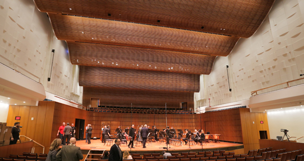 The interior of the new concert hall at the Ordway Center for the Performing Arts in St. Paul features acoustically transparent wood ceiling, and the walls that are textured to diffuse sounds in specific ways, architect Tim Carl said.  (Staff photo: Bill Klotz)