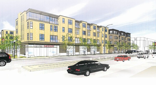 Oppidan Investment Co. now plans to build a five-story 180-unit apartment complex with a Fresh Thyme Farmers Market on the ground floor at 4900 Excelsior Blvd. in St. Louis Park, the former site of a Bally's Fitness club. Oppidan originally planned a four-story, 157-unit complex (above). (File rendering: Collage Architects)