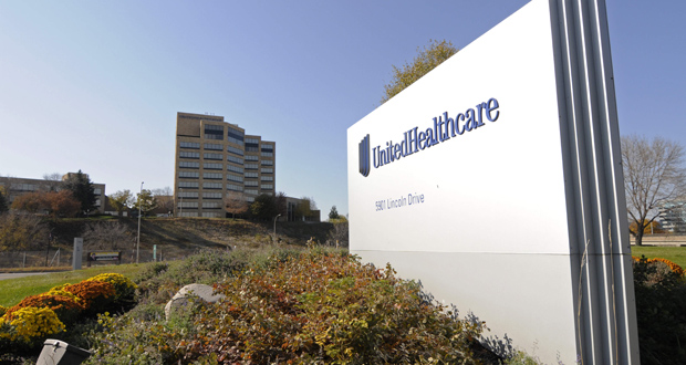 This Oct. 16, 2012, photo shows a portion of The UnitedHealth Group Inc.'s campus in Minnetonka. After reporting its earnings Wednesday, UnitedHealth shares reached their highest price ever, closing at $109.32. (AP file Photo)