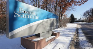 Boston Scientific plans to sell three of its buildings in Arden Hills, including the property at 4100 Hamline Ave. N. in Arden Hills. The three properties and a parking ramp would be subdivided from the company's campus before a sale. (Staff photo: Bill Klotz)