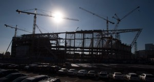Construction of the $1.04 billion Minnesota Vikings stadium is 40 percent complete, Golden Valley-based Mortenson Construction reported Friday. (Photo: Craig Lassig)