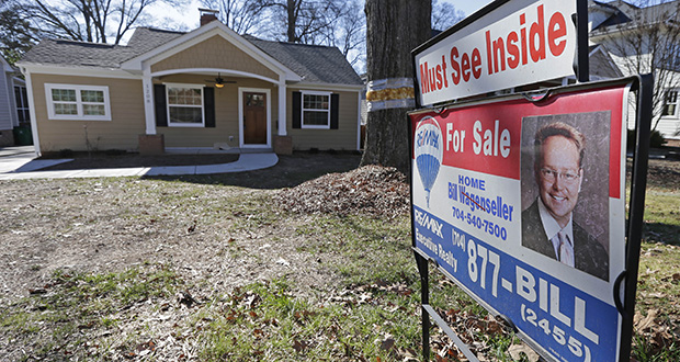 This Jan. 8 photo shows a home for sale in Charlotte, N.C. The Standard & Poor's reported Tuesday that the S&P/Case-Shiller index of home prices rose 4.6 percent in January compared with 12 months earlier. (AP File Photo)