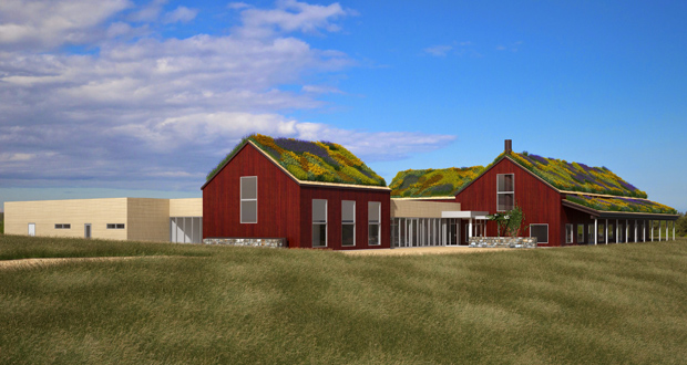 The Minnesota Historical Society plans a spring construction start for a $10.5 million project that will include this new visitor center at the historic Oliver Kelley Farm, 15788 Kelley Farm Road in Elk River. (Submitted rendering: Partners & Sirny)