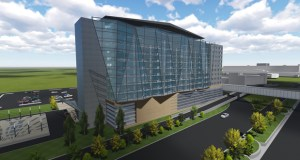Minneapolis-based Graves Hospitality's nine-story, 300-room hotel at the Minneapolis-St. Paul International Airport would be near a U.S. Postal Service facility on the entry road to Terminal 1. (Submitted rendering: RSP Architects)