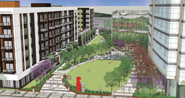 The proposed Central Park West at the West End in St. Louis Park would include a park between proposed office projects (right) and residential buildings (left). An apartment building is expected to be the first building constructed in the multi-phased proposal. (Submitted rendering: ESG Architects)