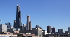 A Nov. 7, 2013, photo shows a view of Chicago's 1,450-foot Willis Tower. Blackstone announced Monday that it is buying the tower, once called the Sears Tower, from 233 South Wacker LLC for an undisclosed amount. The Willis Tower is 110-stories and the second-tallest office building in the U.S. It is the fifth-tallest office building in the world. (AP File Photo)