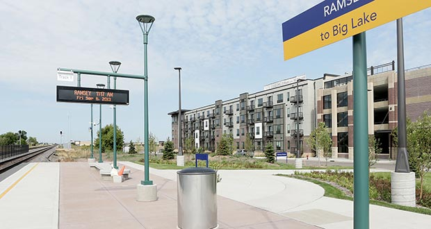 The 230-unit Residence at the COR, at 7700 Sunwood Drive in Ramsey, opened in 2013. The building has direct access to a Northstar Commuter Rail station. (File photo: Bill Klotz)