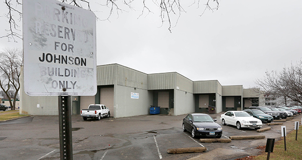 Bloomington-based Doran Cos. bought the warehouse at 810 First St. S. in Hopkins, known as the Johnson Building, in February. The developer expects to redevelop the site with multifamily housing. (Staff photo: Bill Klotz)
