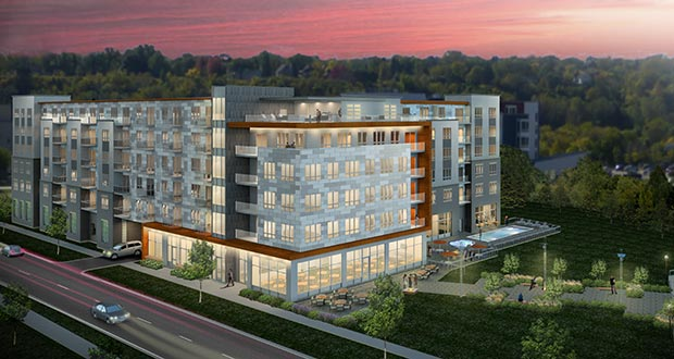 Minneapolis-based Sherman Associates is proposing 266 new apartments in two buildings (middle). The site is just east of the West Side Flats apartments at 84 Wabasha St. S., across the Mississippi River from downtown St. Paul. (Submitted rendering: Kaas Wilson Architects)