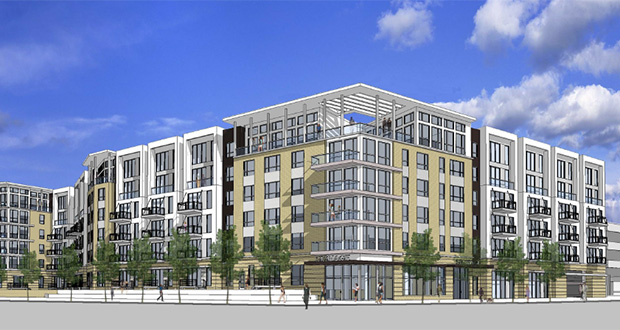 Shepard Road Development has proposed a 211-unit apartment building at 2751 Shepard Road in St. Paul, near the Mississippi River. The site was last home to an office building. (Submitted rendering: BKV Group)