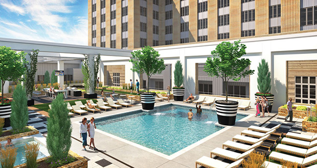 Exeter Group plans to break ground May 13 on its $125 million Custom House project, which will include amenities such as this rooftop deck. (Submitted rending: BKV Group)