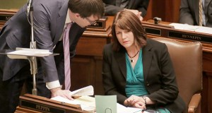 """House Majority Leader Joyce Peppin told members during Tuesday's floor session that Democrats had canceled meetings Monday night, despite earlier plans to negotiate past midnight if necessary. Speaking Tuesday afternoon, Peppin continued: """"So far, when we've met, it's been a lot of delay and it's a line in the sand about the gas tax."""" (File photo: Bill Klotz)"""