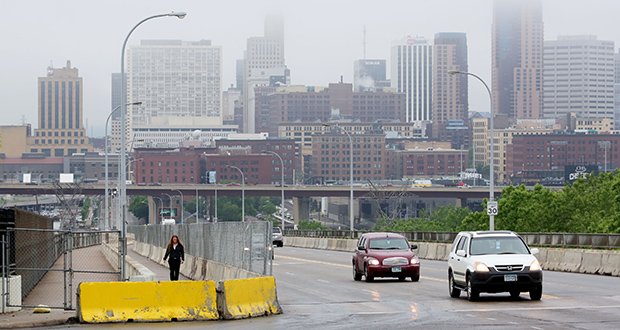 The Kellogg Boulevard-Third Street Bridge in St. Paul, which passes over Interstate 94 and the Bruce Vento Nature Sanctuary, could be replaced starting in 2017 if funding is secured. (Staff photo: Bill Klotz)