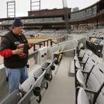 Workers installed seats at CHS Field in March 2015. (File photo: Bill Klotz)