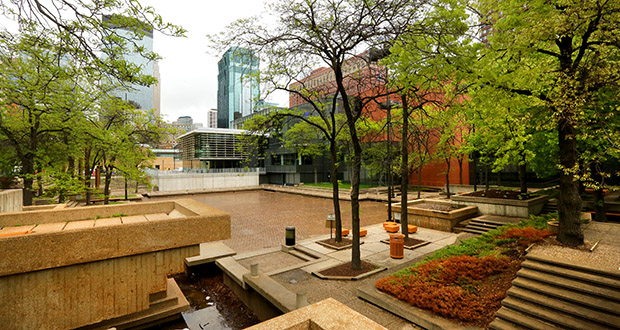 Peavey Plaza, built in 1975, is a concrete park with water features adjacent to the renovated Minneapolis Orchestra Hall, home of the Minnesota Orchestra. (Staff photo: Bill Klotz)