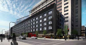 Ryan Cos. US Inc. has proposed a five-story, 164-room Radisson Red hotel for a parcel lining the north side of one of its office towers for Wells Fargo, on the southwest quadrant of Park Avenue and Third Street South. (Submitted rendering: ESG Architects)