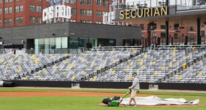 Workers prepare for opening day at the new CHS Field in Lowertown. Despite lots of challenges, the $63 million project was completed on time. (Staff photo: Bill Klotz)