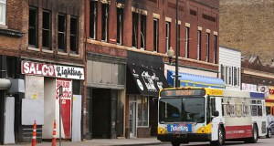 Bus rapid transit or streetcars are under consideration for West Broadway Avenue, linking downtown Minneapolis to Robbinsdale or Golden Valley. The project is expected to have an economic development impact on the north Minneapolis corridor, where a recent fire damaged businesses on the 900 block of West Broadway. (Staff photo: Bill Klotz)