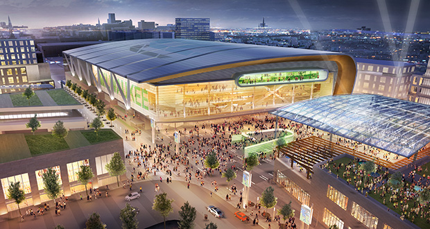 This artist's rendering provided by Populous, HNTB Corporation and Eppstein Uhen Architects, shows a proposed new arena for the Milwaukee Bucks NBA basketball. (Submitted rendering: Populous, HNTB Corporation and Eppstein Uhen Architects)