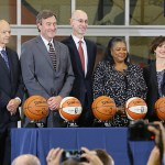 Timberwolves owner Glen Taylor, Mayo Clinic CEO John Noseworthy, NBA commissioner Adam Silver, WNBA President Laurel Richie and Minneapolis Mayor Betsy Hodges