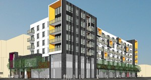 Minneapolis-based CPM Cos. will propose a six-story building with about 130 apartments, office space and retail at 1300 W. Lake St. in Minneapolis. The site is currently home to a Cheapo store. (Submitted rendering: ESG Architects)