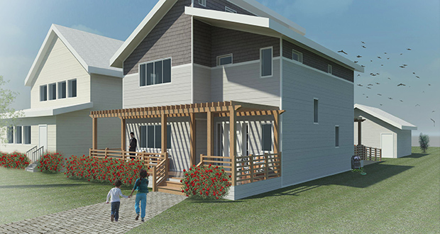 "The University of Minnesota's Team OptiMN designed a two-story sustainable home that allows for better solar access and fits into the north Minneapolis neighborhood. The team won the Department of Energy's ""Race to Zero"" student design competition. (Submitted image: Team OptiMN)"