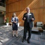 Jim LaPlante, TCF Director of Corporate Operations, along with Barbara Shaw, Director of Corporate Human Services, lead a tour of the new building.