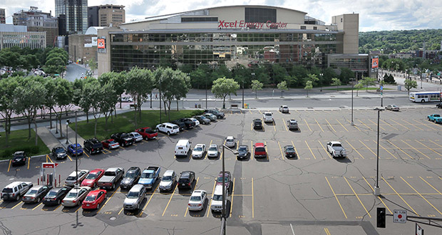 The addition of a Radisson Red hotel marks the latest evolution in the city of St. Paul's plan to overhaul this 2.4-acre parking lot just west of the Xcel Energy Center. (File photo: Bill Klotz)