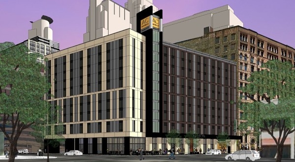 Mortenson's planned 245-room AC Hotel project received $252,939 to clean up a 0.53-acre site at 401 Hennepin Ave. S. in Minneapolis, which is contaminated with metals and other toxic substances. (Submitted image: ESG Architects)