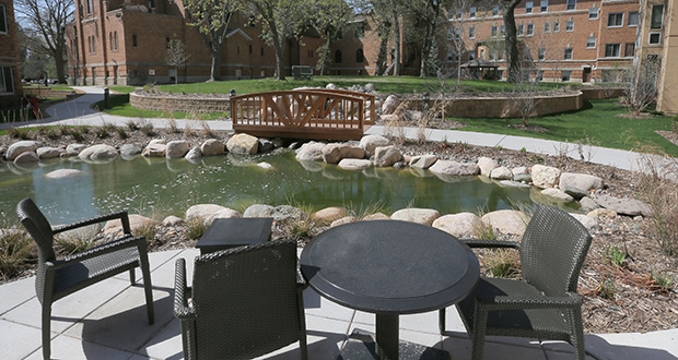Storm-water retention in landscaped ponds is an example of the resiliency movement in sustainable construction. This pond is in Carondelet Village, a senior complex developed by Presbyterian Homes and the Sisters of St. Joseph of Carondelet, 525 Fairview Ave. S. in St. Paul. (File photo: Bill Klotz)