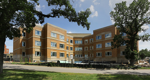 The three-story Building 21 is scheduled to be completed early next year on the Minneapolis Veterans Home campus, 5101 Minnehaha Ave., Minneapolis. It's part of a $116 million multiphase campus improvement. (Staff photo: Bill Klotz)