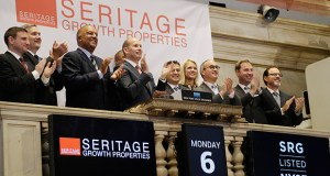 Employees and guests of Seritage Growth Properties, the real estate spinoff of Sears Holdings Corp., applaud at Monday's opening bell as the company's stock is listed at the New York Stock Exchange. (AP photo: Mark Lennihan)