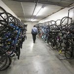 The bike garage is nearly completely filled, and the do-it-yourself bike shop for residents has regular traffic.