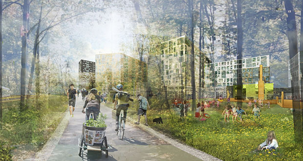 A bike trail and an urban forest are components of nonprofit PLACE's 300-unit sustainable mixed-use development near the future Southwest Light Rail Transit line in St. Louis Park. The project will include a mix of market-rate and affordable rentals. (Submitted rendering: PLACE)