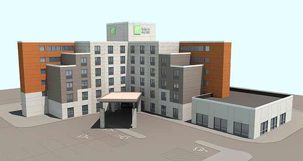 This rendering illustrates the renovated look Wilmar-based TPI Hospitality plans to give to a Holiday Inn Express it has acquired at 2715 Long Lake Road in Roseville. The plan includes a one-story wing at the right for an indoor pool. (Submitted photo: TPI Hospitality)